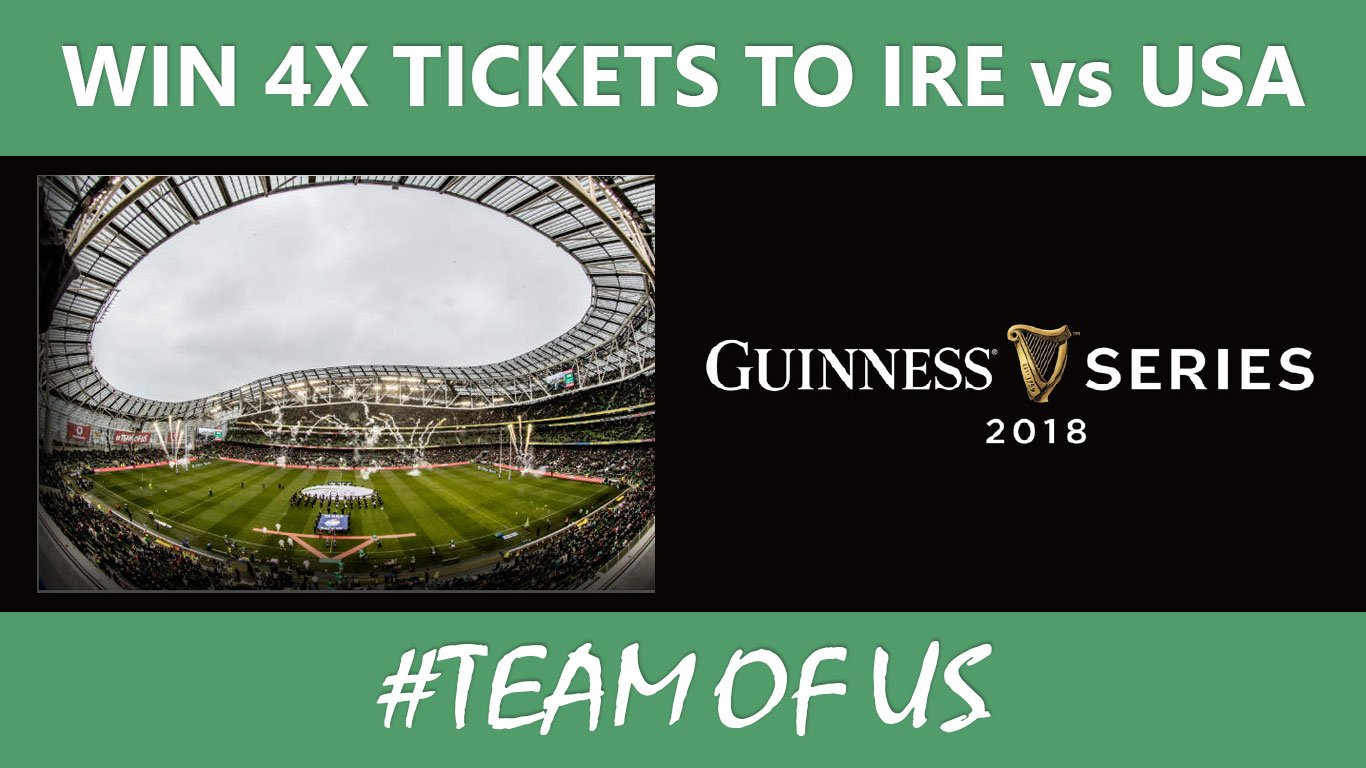 Win 4x tickets to Ireland vs USA #Teamofus